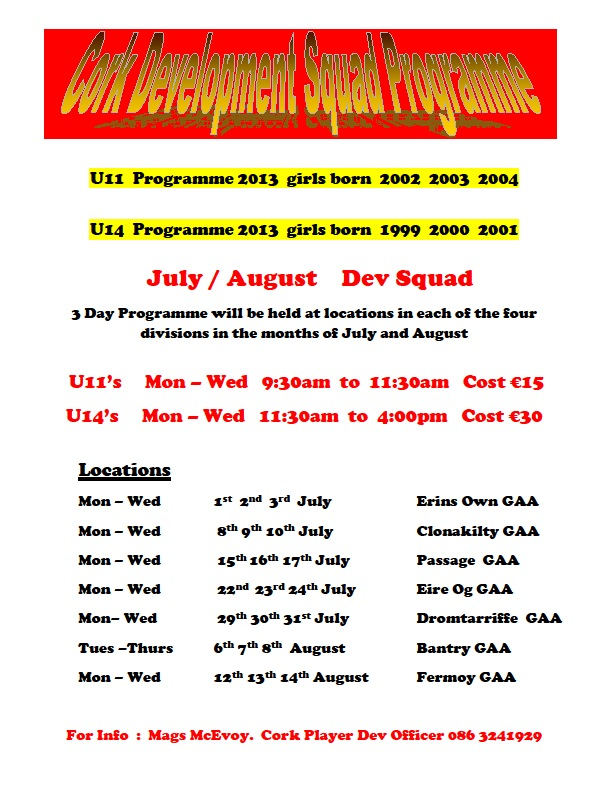 2013 - Cork Development Squad Venues