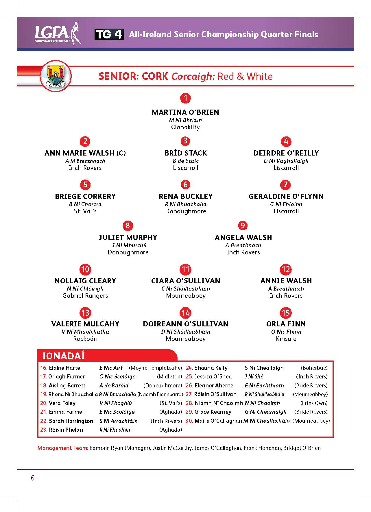 Cork Senior Team 24-08-13
