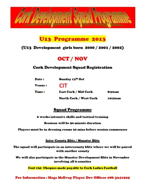 U13 Oct-Nov Cork Development Squad Programme revised