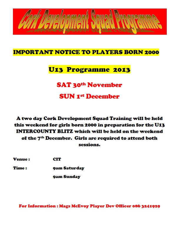Cork U13 Development Squad Trainins 30-11 and 01-12