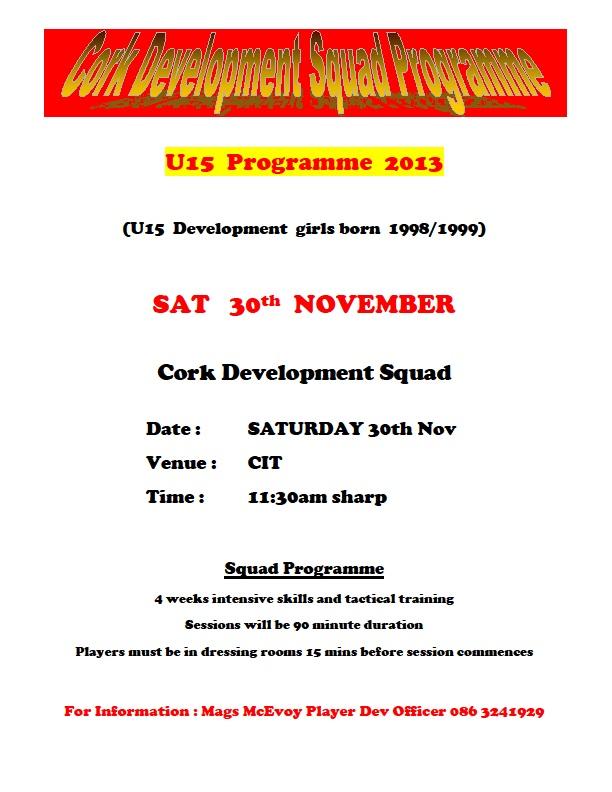 Cork U15 Development Squad - Week 3 Sat 30-11-13