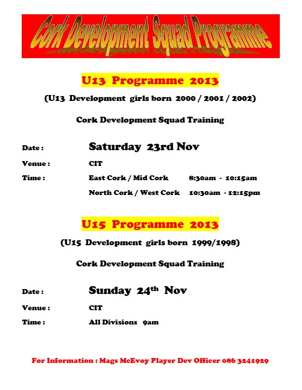 U13-U15 Development Suqad Programme we 24-11-13