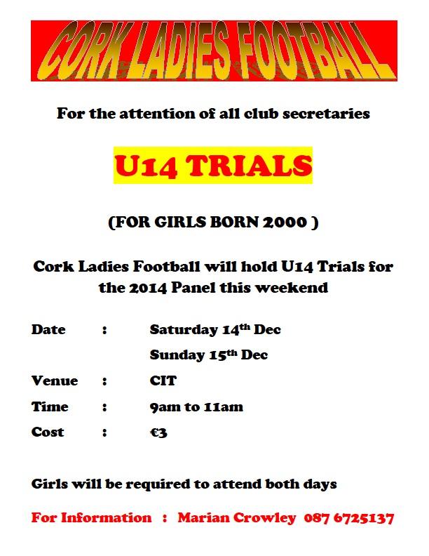 Cork U14 Trials Sat-Sun 14-15 Dec CIT