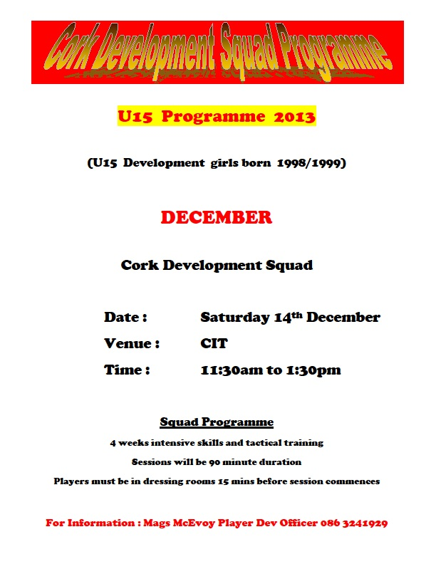 Cork U15 Development 14-12-13