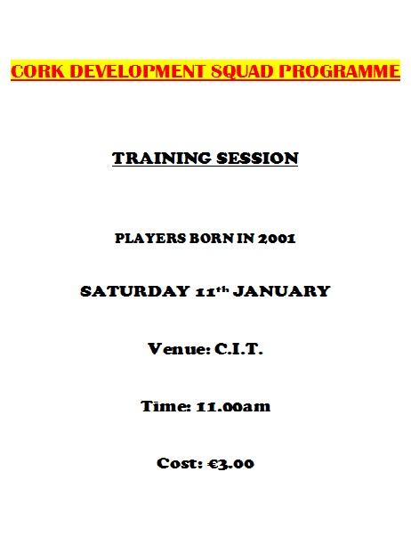 2014 Cork U14 Delevopment Squad Programme - Sat 11th Jan