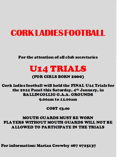 Cork U14 Trials Sat 4th Jan - Ballincolig