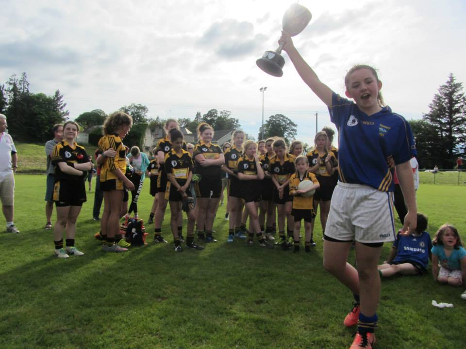 Kilshannig LGFC Sarah Casey, captain, celebrates U14 North Cork A Champions 14
